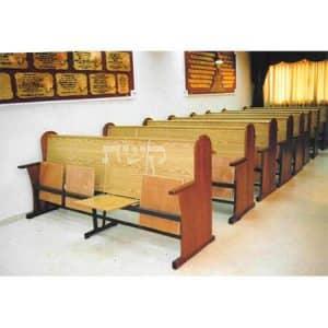 ספסל בית כנסת משולב- ללא ריפוד- קשת רהיטי עץ ומתכת